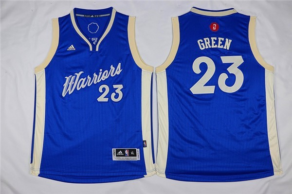 Maillot NBA Enfant 2015 Noël Golden State Warriors NO.23 Draymond Green Bleu