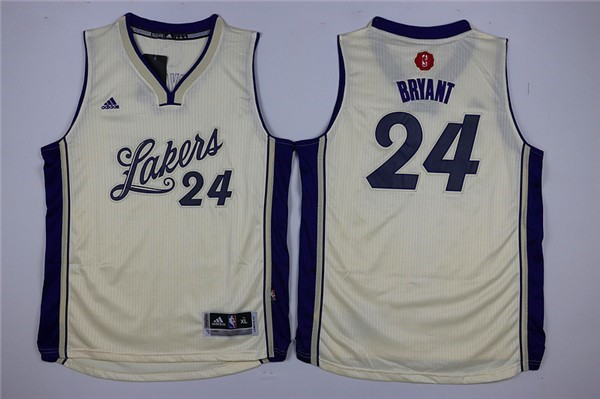 Maillot NBA Enfant 2015 Noël Los Angeles Lakers NO.24 Kobe Bryant Blanc
