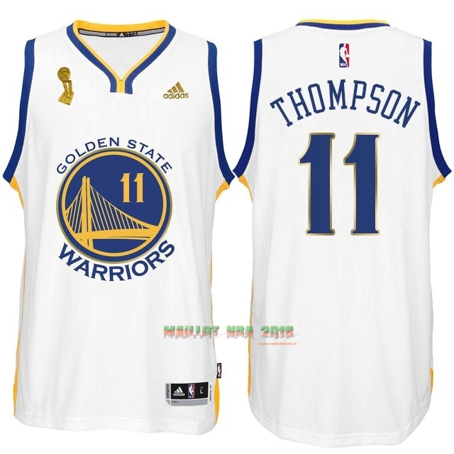 Maillot NBA Golden State Warriors 2015 Final Champions NO.11 Thompson Blanc