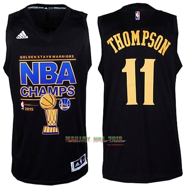 Maillot NBA Golden State Warriors 2015 Final Champions NO.11 Thompson Noir