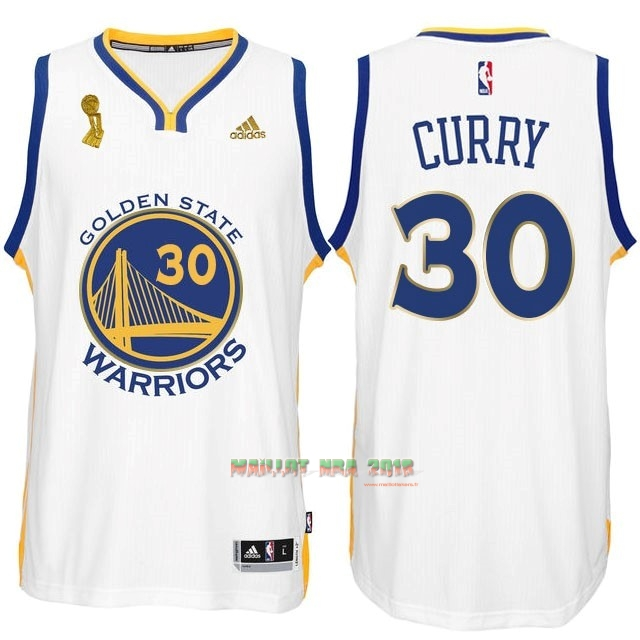 Maillot NBA Golden State Warriors 2015 Final Champions NO.30 Curry Blanc