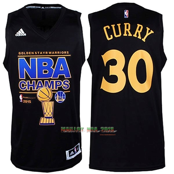 Maillot NBA Golden State Warriors 2015 Final Champions NO.30 Curry Noir