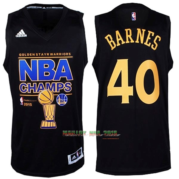 Maillot NBA Golden State Warriors 2015 Final Champions NO.40 Barnes Noir