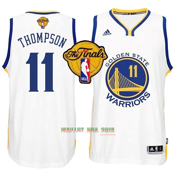 Maillot NBA Golden State Warriors Finales NO.11 Thompson Blanc