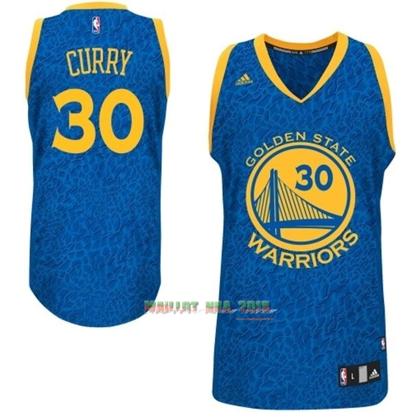 Maillot NBA Golden State Warriors Luz Léopard NO.30 Curry Bleu