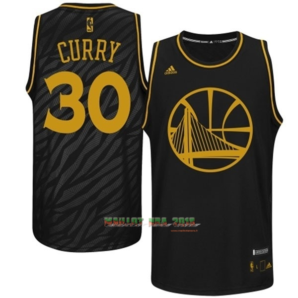 Maillot NBA Golden State Warriors Mode Métaux Précieux NO.30 Curry Noir