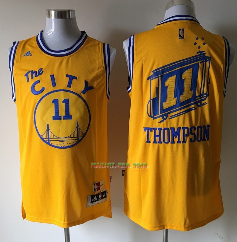 Maillot NBA Golden State Warriors NO.11 Klay Thompson Jaune