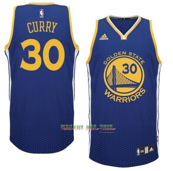 Maillot NBA Golden State Warriors Retentisse Fashion NO.30 Curry Bleu