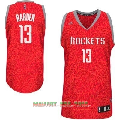 Maillot NBA Houston Rockets Luz Léopard NO.13 Harden Rouge