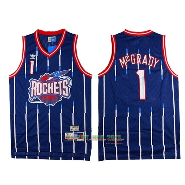 Maillot NBA Houston Rockets NO.1 Tracy McGrady Retro Bleu