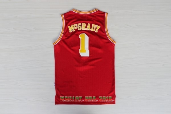 Maillot NBA Houston Rockets NO.1 Tracy McGrady Retro Rouge Or