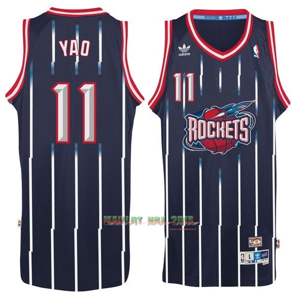 Maillot NBA Houston Rockets NO.11 Yao Ming Retro Bleu