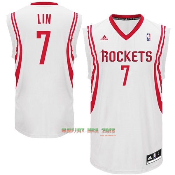 Maillot NBA Houston Rockets NO.7 Jeremy Lin Blanc