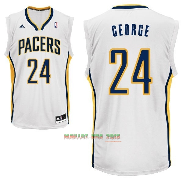 Maillot NBA Indiana Pacers NO.24 Paul George Blanc