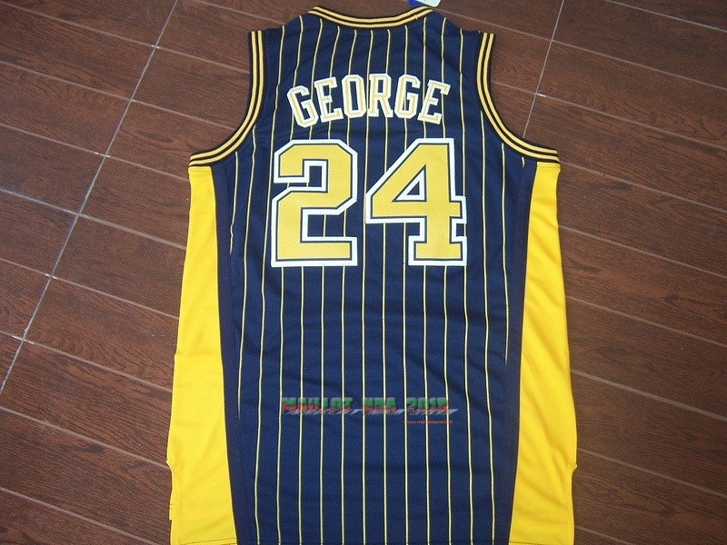 Maillot NBA Indiana Pacers NO.24 Paul George Bleu Bande
