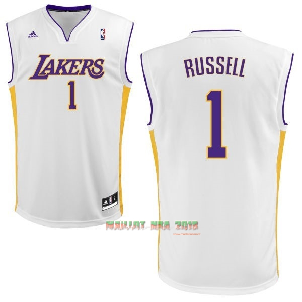 Maillot NBA Los Angeles Lakers NO.1 D'Angelo Russell Blanc