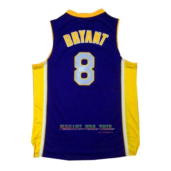 Maillot NBA Los Angeles Lakers NO.8 Kobe Bryant Pourpre Jaune