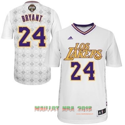 Maillot NBA Los Angeles Lakers Nuits Latine Manche Courte NO.24 Bryant Blanc