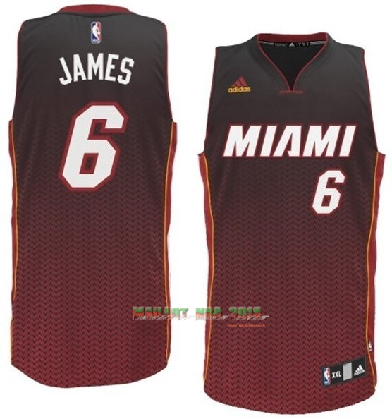 Maillot NBA Miami Heat Retentisse Fashion NO.6 James Rouge