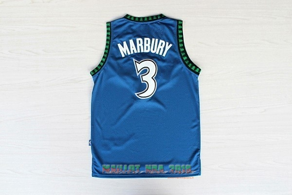 Maillot NBA Minnesota Timberwolves NO.3 Stephon Marbury Retro Bleu