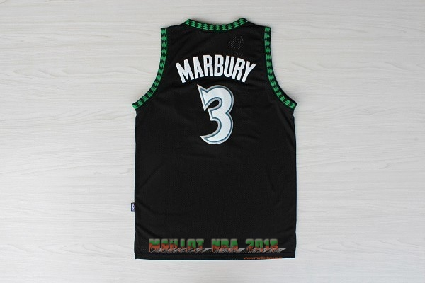 Maillot NBA Minnesota Timberwolves NO.3 Stephon Marbury Retro Noir