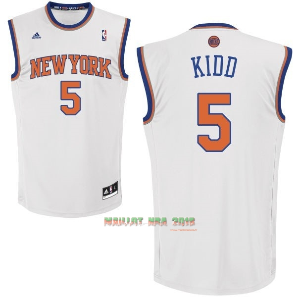 Maillot NBA New York Knicks NO.5 Jason Kidd Blanc