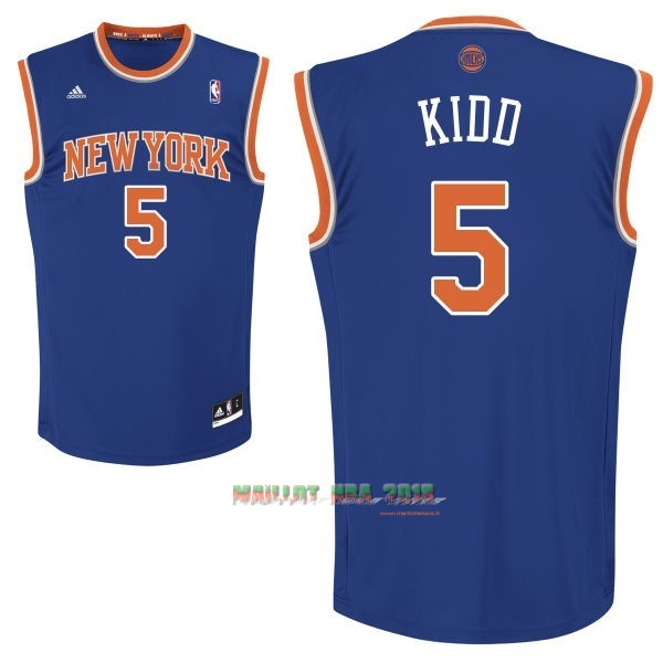 Maillot NBA New York Knicks NO.5 Jason Kidd Bleu
