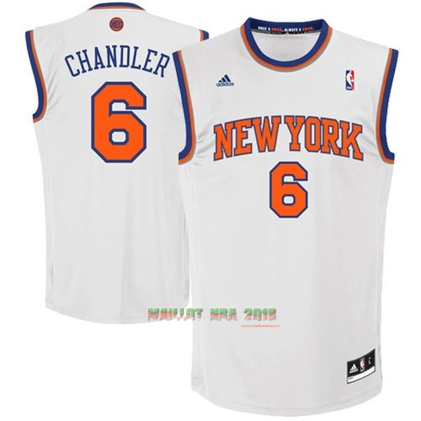 Maillot NBA New York Knicks NO.6 Kristaps Porzingis Blanc