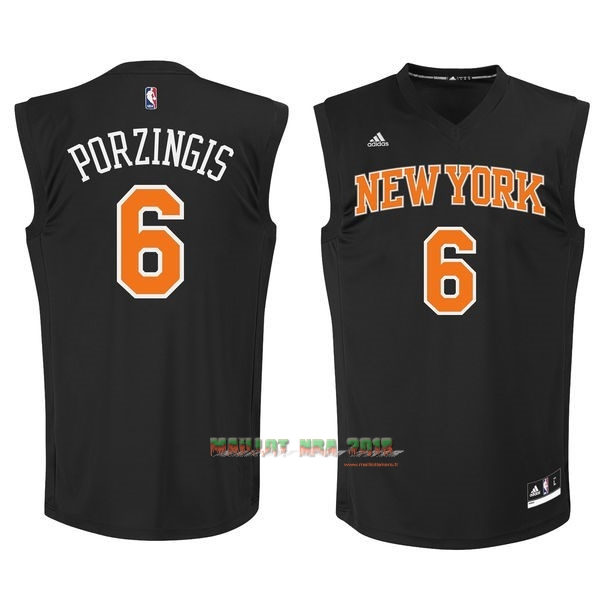 Maillot NBA New York Knicks NO.6 Kristaps Porzingis Noir
