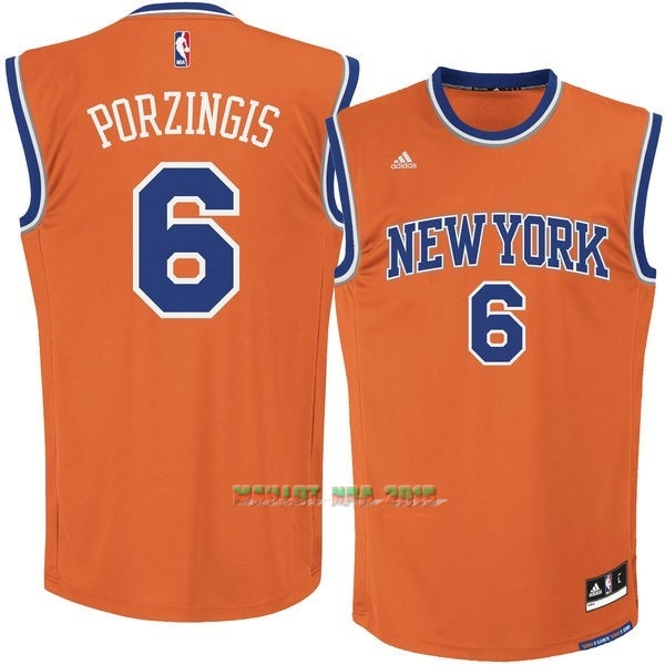 Maillot NBA New York Knicks NO.6 Kristaps Porzingis Orange