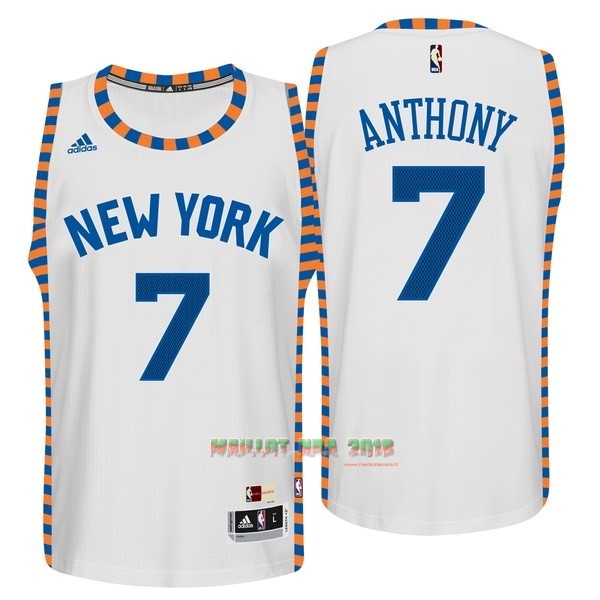 Maillot NBA New York Knicks NO.7 Carmelo Anthony Blanc Encaje