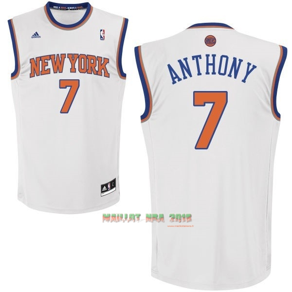 Maillot NBA New York Knicks NO.7 Carmelo Anthony Blanc
