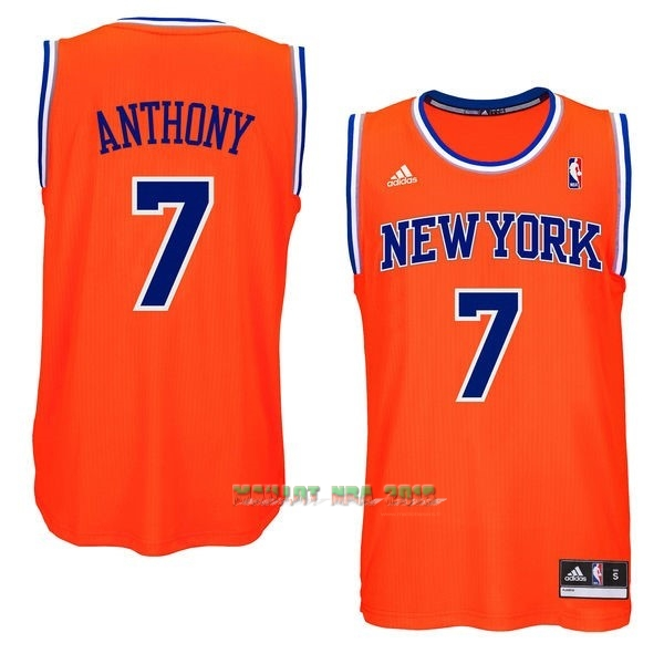 Maillot NBA New York Knicks NO.7 Carmelo Anthony Orange Bleu