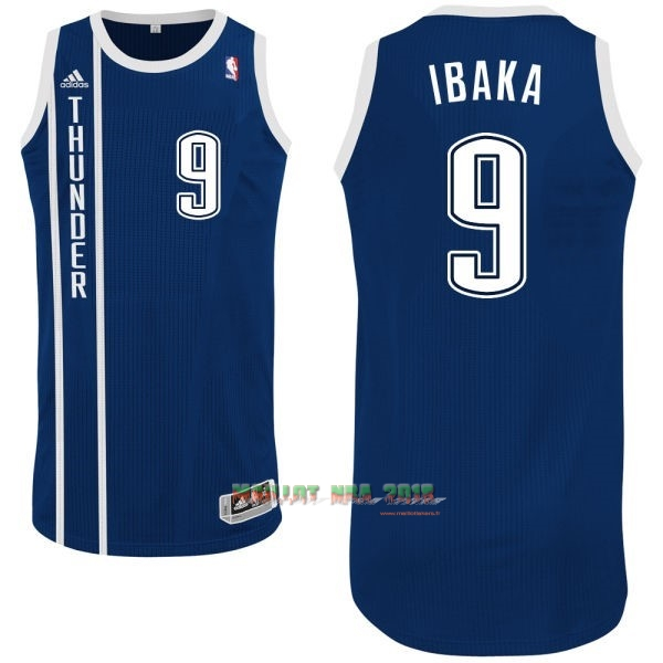 Maillot NBA Oklahoma City Thunder NO.9 Serge Ibaka Retro Bleu