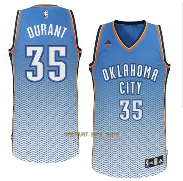 Maillot NBA Oklahoma City Thunder Retentisse Fashion NO.35 Durant Bleu