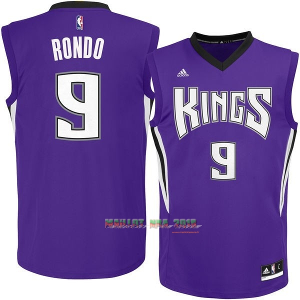 Maillot NBA Sacramento Kings NO.9 Rajon Rondo Pourpre
