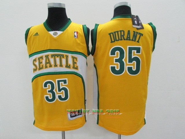 Maillot NBA Seattle Supersonics NO.35 Kevin Durant Jaune