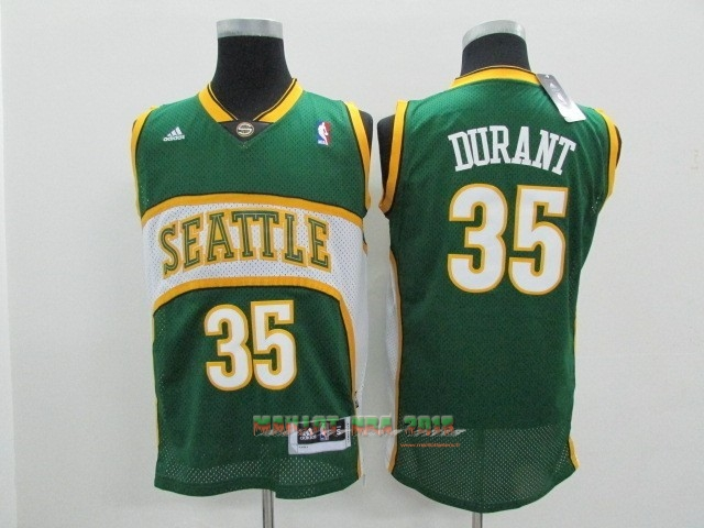 Maillot NBA Seattle Supersonics NO.35 Kevin Durant Vert