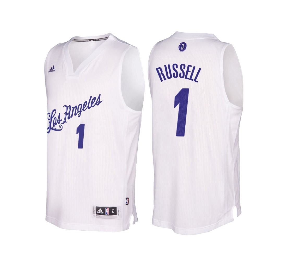 Maillot NBA Los Angeles Lakers 2016 Noël NO.1 D'Angelo Russell Blanc