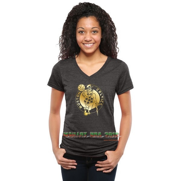 T-Shirt Femme Boston Celtics Noir Or