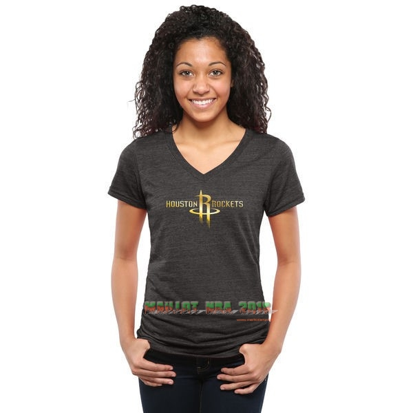 T-Shirt Femme Houston Rockets Noir Or